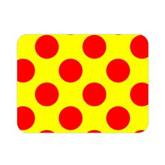 Polka Dot Red Yellow Double Sided Flano Blanket (mini)  by Mariart