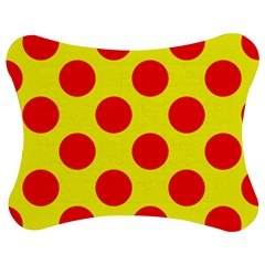 Polka Dot Red Yellow Jigsaw Puzzle Photo Stand (bow) by Mariart
