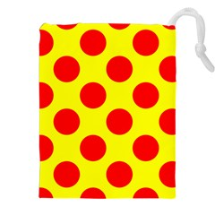 Polka Dot Red Yellow Drawstring Pouches (xxl) by Mariart