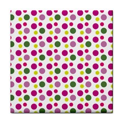 Polka Dot Purple Green Yellow Tile Coasters by Mariart