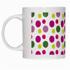 Polka Dot Purple Green Yellow White Mugs by Mariart