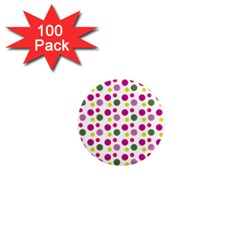 Polka Dot Purple Green Yellow 1  Mini Magnets (100 Pack)  by Mariart