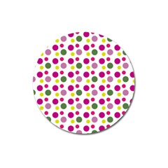Polka Dot Purple Green Yellow Magnet 3  (round) by Mariart