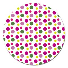 Polka Dot Purple Green Yellow Magnet 5  (round) by Mariart
