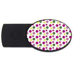 Polka Dot Purple Green Yellow Usb Flash Drive Oval (2 Gb) by Mariart