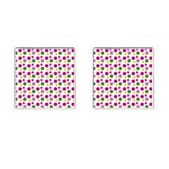 Polka Dot Purple Green Yellow Cufflinks (square) by Mariart