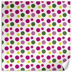 Polka Dot Purple Green Yellow Canvas 16  X 16   by Mariart