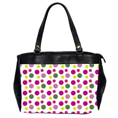 Polka Dot Purple Green Yellow Office Handbags (2 Sides)  by Mariart