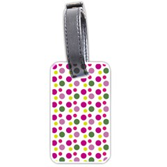 Polka Dot Purple Green Yellow Luggage Tags (two Sides) by Mariart