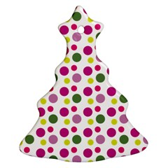 Polka Dot Purple Green Yellow Christmas Tree Ornament (two Sides) by Mariart