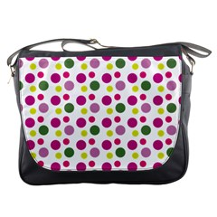 Polka Dot Purple Green Yellow Messenger Bags by Mariart