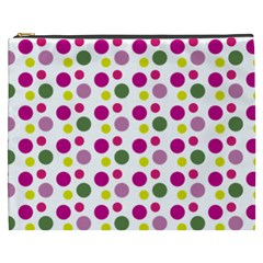 Polka Dot Purple Green Yellow Cosmetic Bag (xxxl)  by Mariart