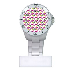Polka Dot Purple Green Yellow Plastic Nurses Watch by Mariart