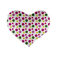 Polka Dot Purple Green Yellow Standard 16  Premium Flano Heart Shape Cushions by Mariart
