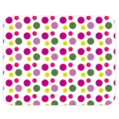 Polka Dot Purple Green Yellow Double Sided Flano Blanket (medium)  by Mariart