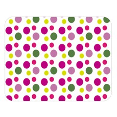 Polka Dot Purple Green Yellow Double Sided Flano Blanket (large)  by Mariart