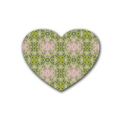 Digital Computer Graphic Seamless Wallpaper Rubber Coaster (heart)  by Simbadda