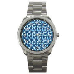Polka Dot Blue Sport Metal Watch by Mariart