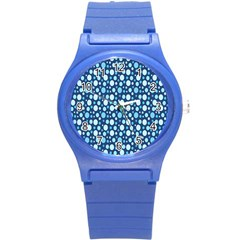 Polka Dot Blue Round Plastic Sport Watch (s) by Mariart