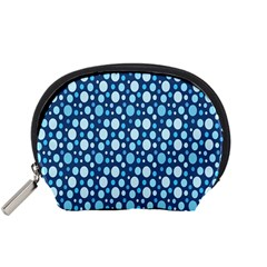 Polka Dot Blue Accessory Pouches (small)  by Mariart