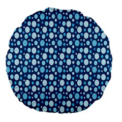 Polka Dot Blue Large 18  Premium Flano Round Cushions by Mariart