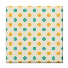 Polka Dot Yellow Green Blue Tile Coasters by Mariart