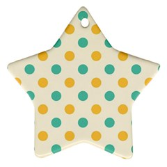 Polka Dot Yellow Green Blue Ornament (star) by Mariart