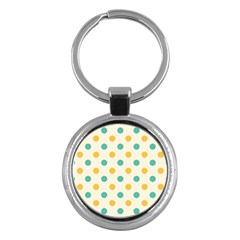 Polka Dot Yellow Green Blue Key Chains (round)  by Mariart