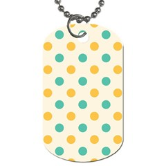 Polka Dot Yellow Green Blue Dog Tag (two Sides) by Mariart