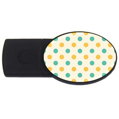 Polka Dot Yellow Green Blue Usb Flash Drive Oval (4 Gb) by Mariart