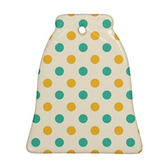 Polka Dot Yellow Green Blue Ornament (bell) by Mariart