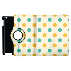 Polka Dot Yellow Green Blue Apple Ipad 2 Flip 360 Case by Mariart