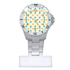 Polka Dot Yellow Green Blue Plastic Nurses Watch by Mariart