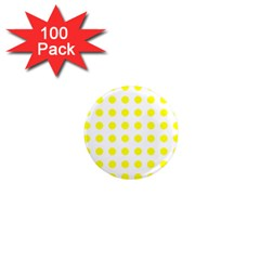 Polka Dot Yellow White 1  Mini Magnets (100 Pack)  by Mariart