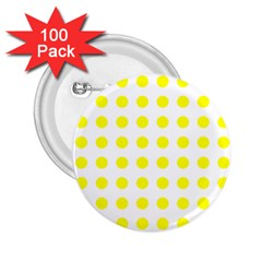 Polka Dot Yellow White 2 25  Buttons (100 Pack)  by Mariart