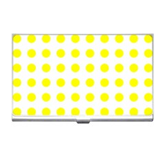 Polka Dot Yellow White Business Card Holders by Mariart