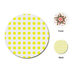Polka Dot Yellow White Playing Cards (round)  by Mariart