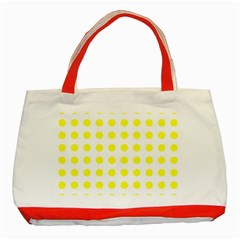 Polka Dot Yellow White Classic Tote Bag (red) by Mariart