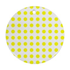 Polka Dot Yellow White Round Ornament (two Sides) by Mariart