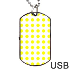 Polka Dot Yellow White Dog Tag Usb Flash (one Side) by Mariart