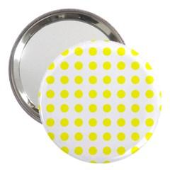 Polka Dot Yellow White 3  Handbag Mirrors by Mariart