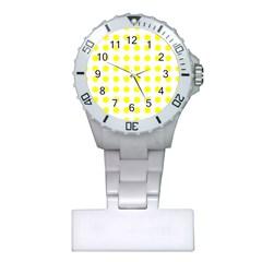 Polka Dot Yellow White Plastic Nurses Watch by Mariart