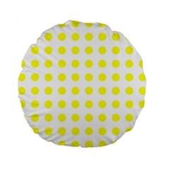 Polka Dot Yellow White Standard 15  Premium Flano Round Cushions by Mariart