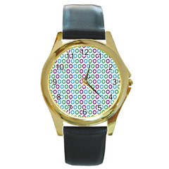 Polka Dot Like Circle Purple Blue Green Round Gold Metal Watch by Mariart
