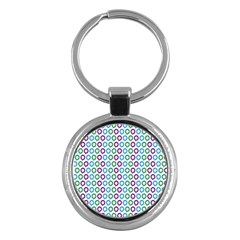 Polka Dot Like Circle Purple Blue Green Key Chains (round)  by Mariart