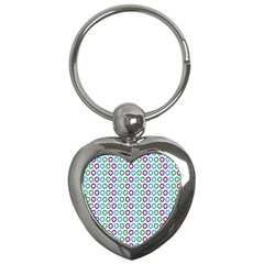 Polka Dot Like Circle Purple Blue Green Key Chains (heart)  by Mariart