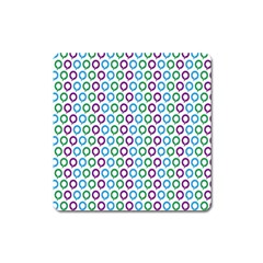 Polka Dot Like Circle Purple Blue Green Square Magnet by Mariart