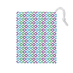 Polka Dot Like Circle Purple Blue Green Drawstring Pouches (large)  by Mariart