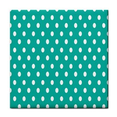 Polka Dots White Blue Tile Coasters by Mariart