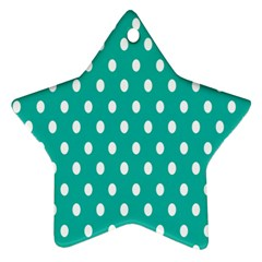 Polka Dots White Blue Ornament (star) by Mariart